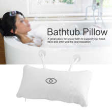 Mesh Spa Non-Slip Cushioned Bath Tub Spa Pillow Bathtub Head Rest Pillow With Suction Cups For Neck And Back Bathroom Supply