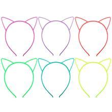 6pcs Glowing Cat Ears Headband Baby Girls Halloween Luminous Ear Hair Band Hoop Tiara Hairband Accessories