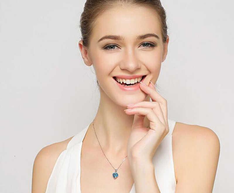 YANHUI srebro 925 biżuteria naszyjnik 100% 925 srebro Sapphire wisiorek luksusowa kobieta kryształowy naszyjnik Fine Jewelry