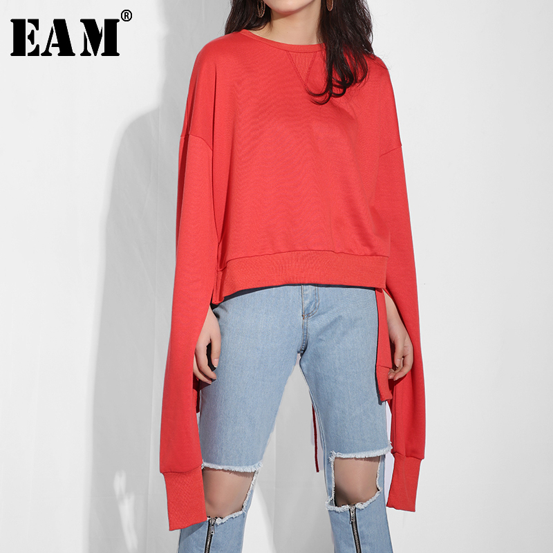 [EAM] 2020 New Spring Summer Round Neck Long Sleeve Back Hollow Out Bandage Personality Big Size Sweatshirt Women Fashion JO28