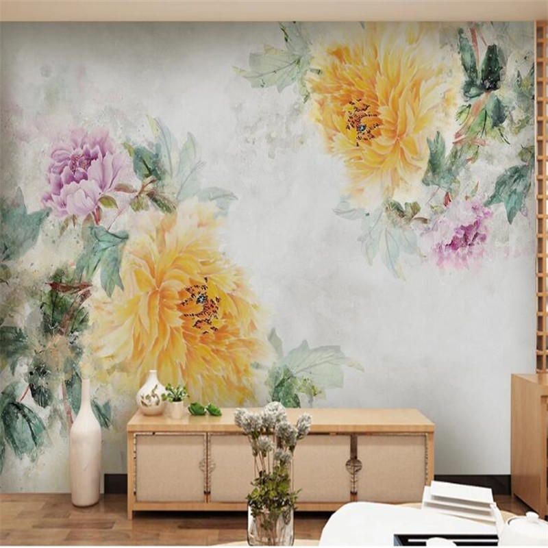 Large 3D Wallpaper Mural Set Modern Hand Painted Oil Painting Peony Flower Background Wallpaper Mural