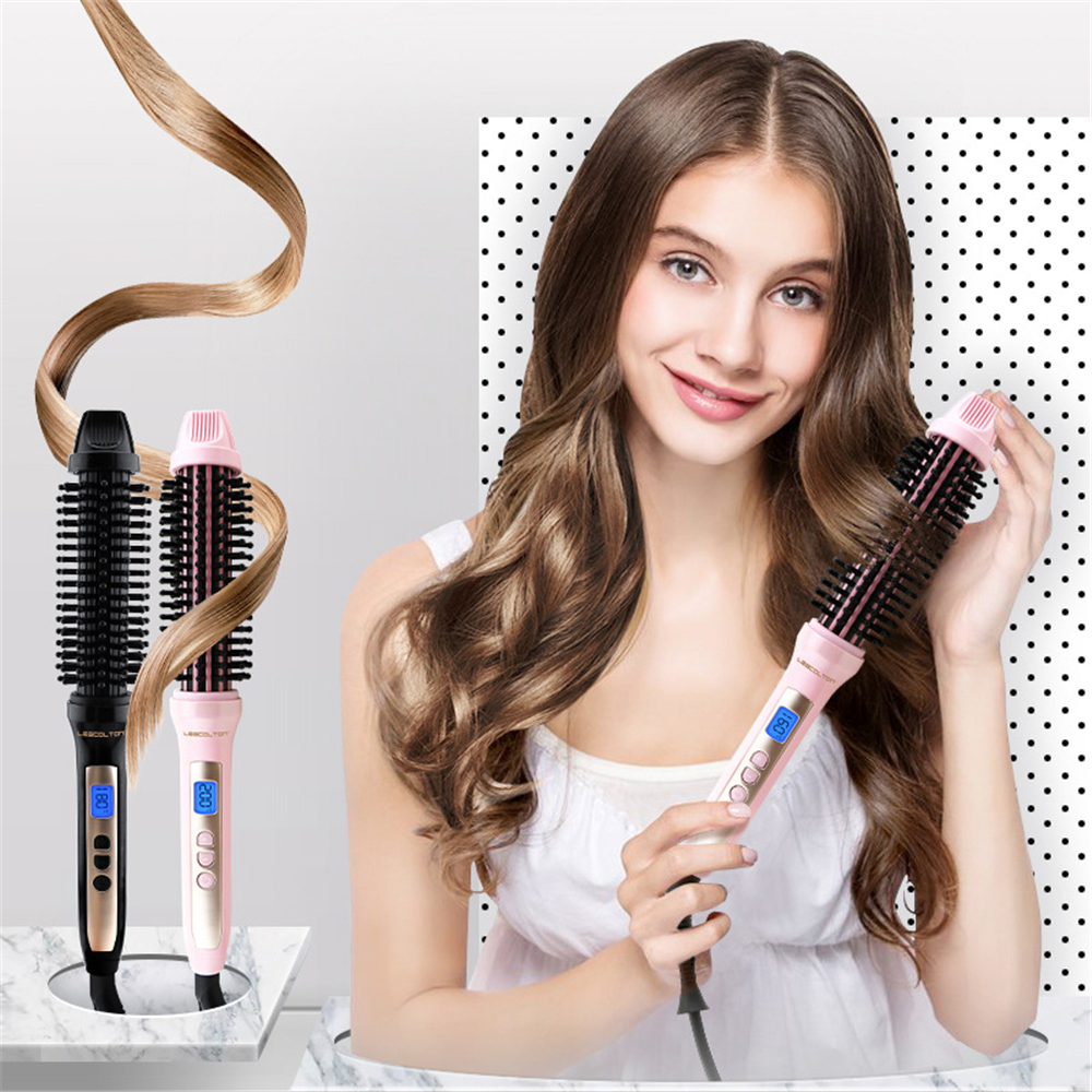 LESCOLTON Display 2 In 1 Ceramic Hair Straightener Comb Hair Curler Curling Roller Beauty Care Iron Hot Brush Comb