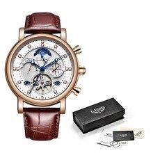 Newlige Tourbillon Mannen Horloges Fashion Business Automatische Mechanische Horloge Mannen Casual Lederen Waterdicht Horloge Relogio Masculino