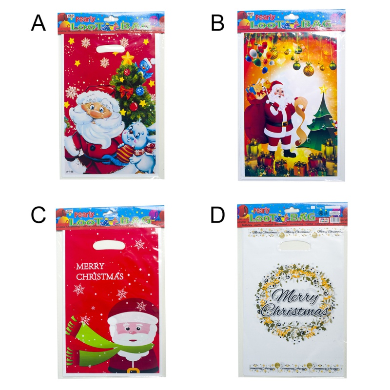 10PCS Disposable Christmas Treat Bags With Handles Plastic Candy Cookie Food Storage Pouch Gift Wrapping Bags Party Supplies in Gift Bags Wrapping Supplies from Home Garden