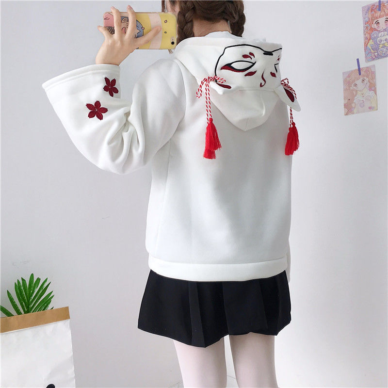 Autumn Cotton Women's Clothing Anime Japan Style Fox Printed Hoodies White Harajuku Student Girl Loose Bell Sleeve Top