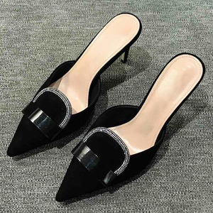 Image 2 - Luxury Dress High Heels Pumps Spring Autumn Brand Design Slip on Women Shoes Shallow Mouth Female Pumps With Crystal