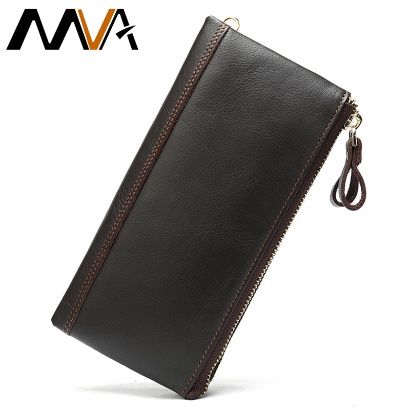MVA Men's Genuine Leather Wallet Male Long Purse Men Wallet Leather With Coin Pockets Slim Purse For Phone Men's Clutch Bag 9031