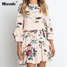 Missufe Ruffle O Neck Lace Up Print Mini Dress Women Loose Long Sleeve Short 2019 Autumn Winter Streetwear  Female