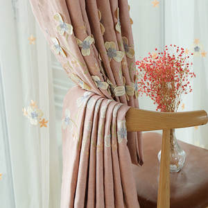 Curtain-Fabric Embossed Embroidered Window-Screen Linen Pink White Shade Finished-Product