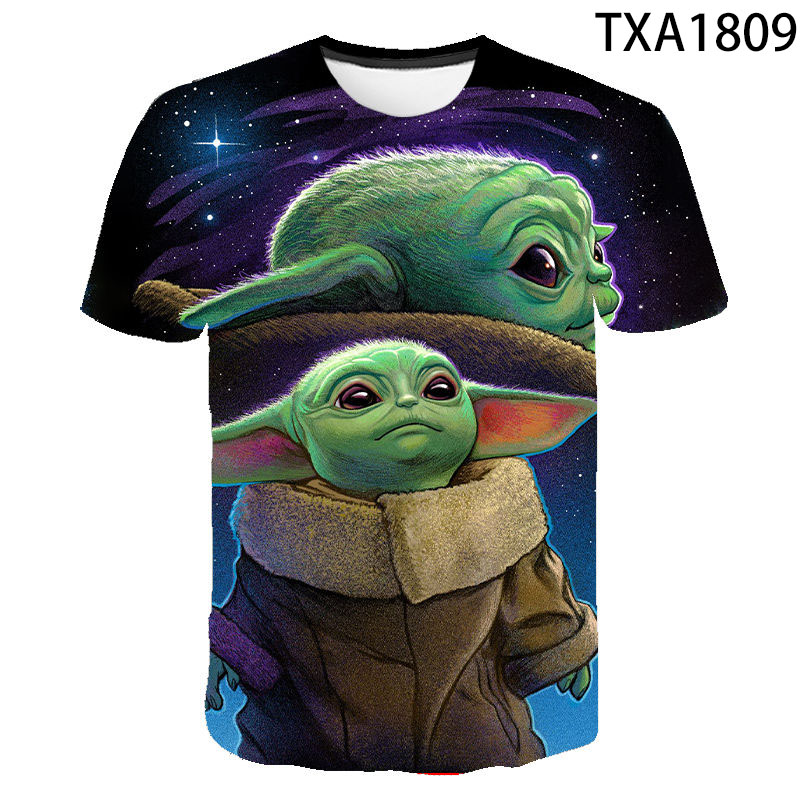 The Mandalorian Baby Yoda T shirt Men Women Children Star Wars 3D Print T-shirt Summer Streetwear Boy Girl Kids Tops Cool Tee image