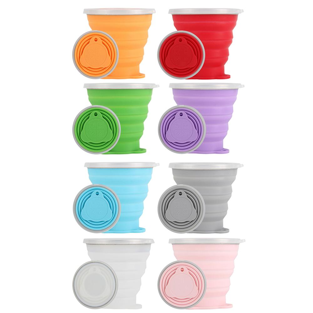 270mL Foldable Silicone Cup Outdoor Retractable Drinking Mug Travel Cup Outdoor Sport Water Mug Telescopic Collapsible