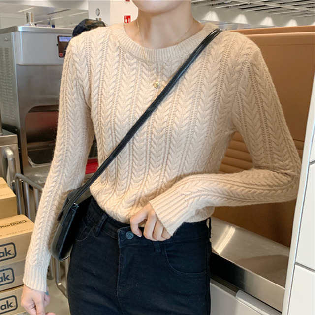 Ailegogo New 2020 Autumn Winter Women Warm Sweaters Knitting Pullovers Full Sleeve Stylish Slim Fit Top Clothing 1