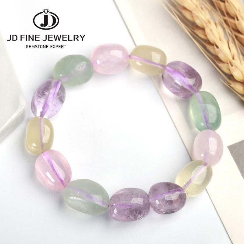 JD Amethyst/Pink/Prehnite/Citrine quartz faceted 12*16mm Big Baroque Bracelet 7.5inch Wholesale Beads Nature Gemstone(China)