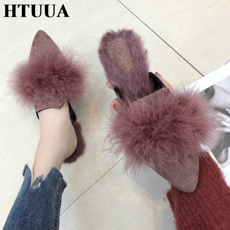 HTUUA House Shoes Flat Women Slippers Slip-On Plush Furry Fluffy Winter Woman Indoor