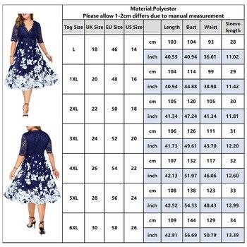 Plus Size Women Summer Dress Patchwork Flower Large Size Evening Party Lady Midi Dress Sexy Lace Calf Elegant Female Dress D25 4