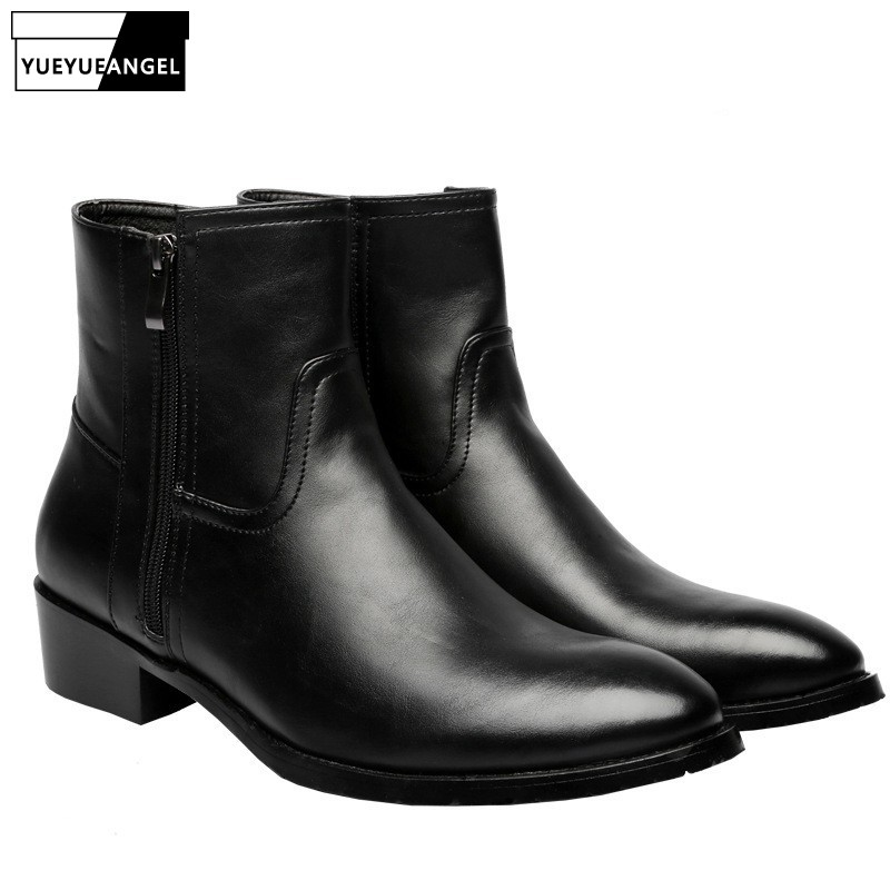 Winter Mens Pointed Toe Leather Ankle Boots Block Med Heels Biker Safety Shoes Man High Top Motorcycle Leather Shoes Plus Size