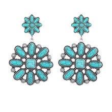 Bohemian Vintage Silver Blue Stone Pumpkin Flower Earrings for Women Indian Ethnic Statement