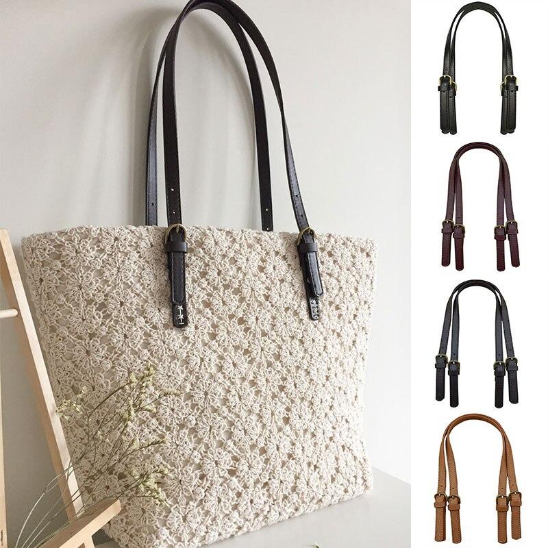 2 Pcs 60cm PU Leather Bag Strap Women Shoulder Bag Handle Belt Ladies Replacement For Handbags Strap DIY Bag Accessories
