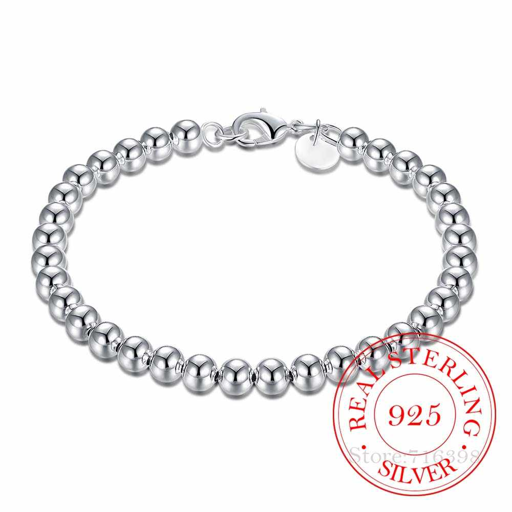 100% 925 Solid Real Sterling Silver Fashion 6mm Beads Chain Bracelet for Women 20cm For Teen Girls Lady Gift Women Fine Jewelry