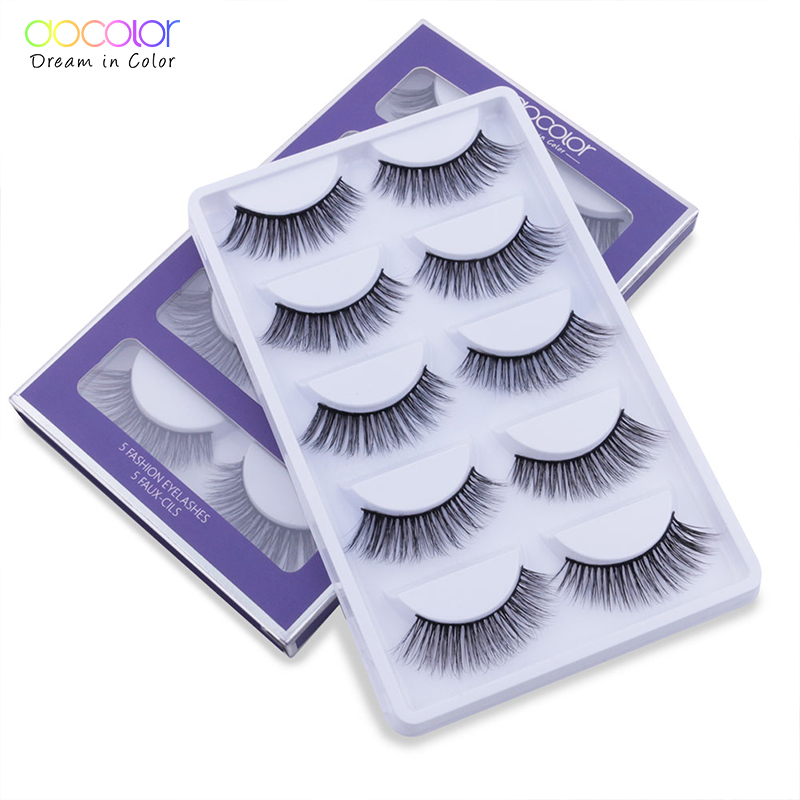 Docolor 5 Pair Mink Eyelashes Natural Long 3D Mink Lashes Hand Made False Lashes Plastic Cotton Stalk Makeup False Eyelash