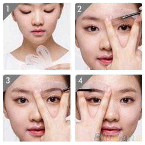 Women's Professional Easy to Use 3 Pcs/1 Set Durable Eyebrow Assistant Template Drawing Card Brow Make Up Stencil 3