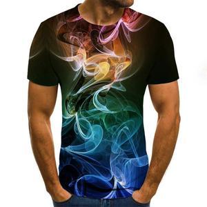 2020 yazında 3D baskılı tişörtler, erkek çok renkli yuvarlak yakalı gündelik tişörtler, moda 3D baskılı tişörtler 6XL