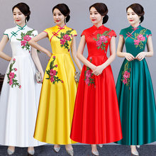 Vintage Chinese Style Long Cheongsam Wedding Dress Retro Sexy Summer Slim Gown Marriage Qipao Party Evening Dress Vestido S-3XL(China)