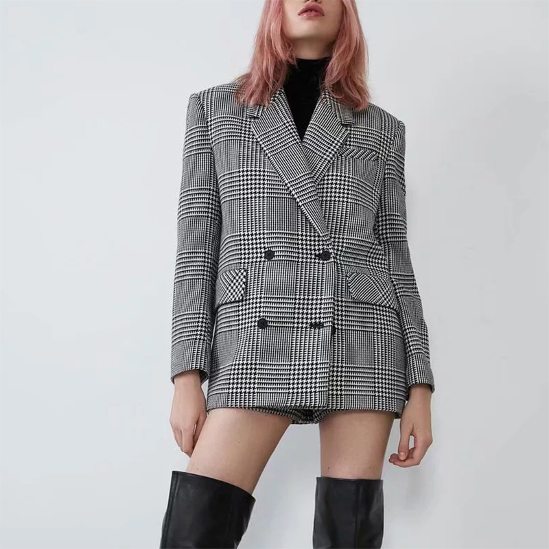 ZA Style Autumn Winter Women Suit Casual Vintage Chic Plaid Coat Tweed Jacket Female Houndstooth Wool Blazer Outerwear Women