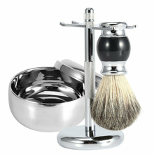 Men Grooming Stand Holder Soap Bowl Portable Alloy Facial Cleaning Professional Beard Brush Home Shaving Kit 3 In 1 Bathroom
