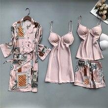 Smmoloa 4 Piece Silk Robe Women Silk Pajamas Set satin