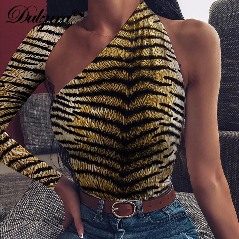 Dulzura Tiger Animal Print Bodysuit One Shoulder Backless Bodycon Sexy Streetwear 2019 Autumn Winter Body Romper Party Clothes