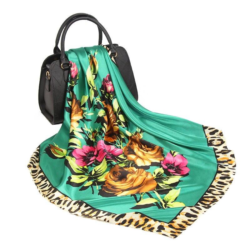 Hair Scarf Women Print Fashion Luxury Brand Green Foulard Bandanna 90*90cm Square Shawls And Wraps Satin Silk Head/hair Scarfs