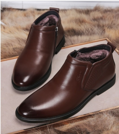 Autumn Winter Men's Plus Velvet Keep Warm Martin Boots Men's Breathable High-top Boots Genuine Leather Slip-on Formal Shoes