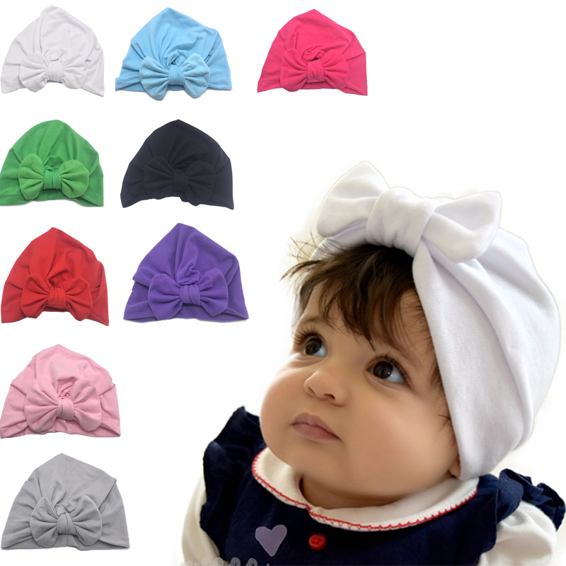 Kids Baby Girl Headband Accessories Toddler Turban Bowknot Headwear Baby Cotton Hat Cap Hair Bands Headwear 2020