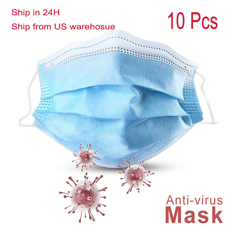 10pcs/pack Disposable Face Respirator Mask 3 Layer Earloop Activated Carbon PM2.5 Protective Anti-Dust Proof Mouth Mask