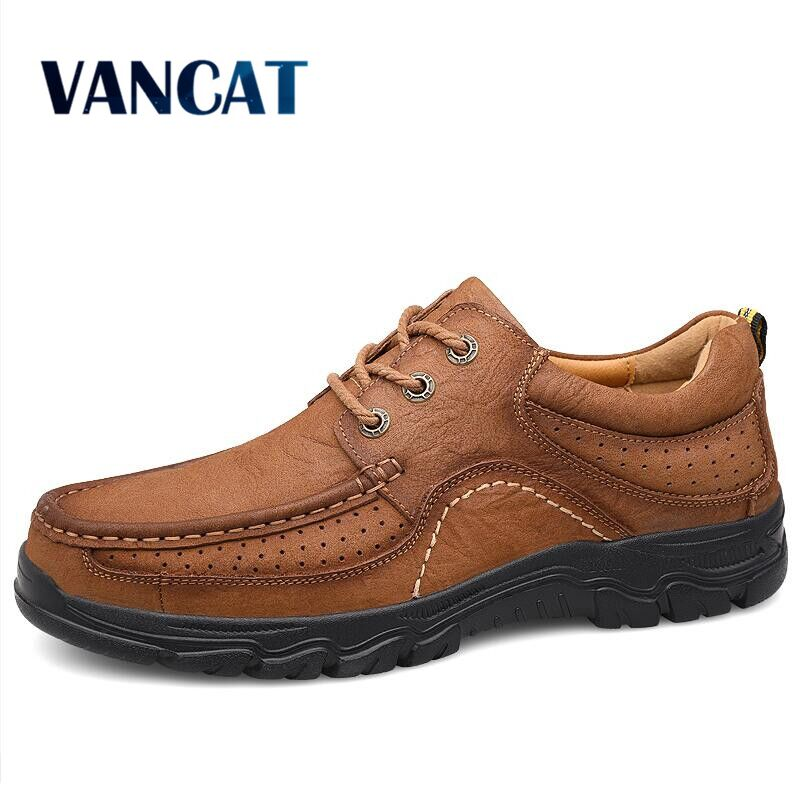 New High Quality Men's Shoes 100% Genuine Leather Casual Shoes Waterproof Work Shoes Cow Leather Loafers Sneakers Big Size 38-47