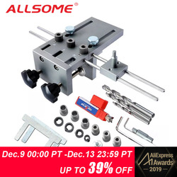 ALLSOME Woodworking Puncher Locator Wood Doweling Jig Adjustable Drilling Guide For DIY Furniture Connecting Position Tools