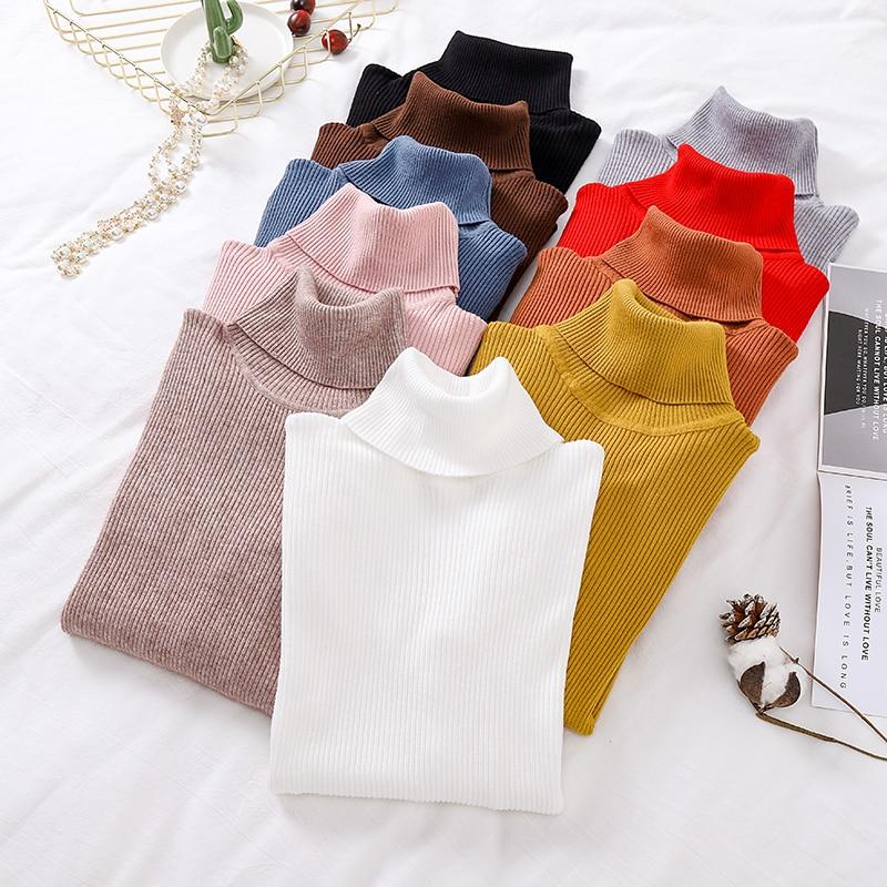Heliar Women Turtelneck Sweater Winter Underwear Warm Sweater For Women 2019 Autumn Solid Casual Solid Knitting Pullovers