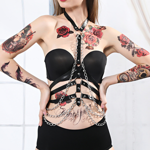 Image 2 - Lederen Harnas Riem Lingerie Body Bondage Kooi Jarretellegordel Jarretel Body Harnas Voor Vrouwen Ketting Riem Beha Kooi Punk Goth tops