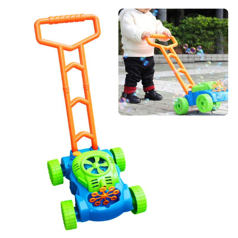 Automatic Music Trolley Blowing Bubble Machine Children Outdoor Game Push Toy DXAD