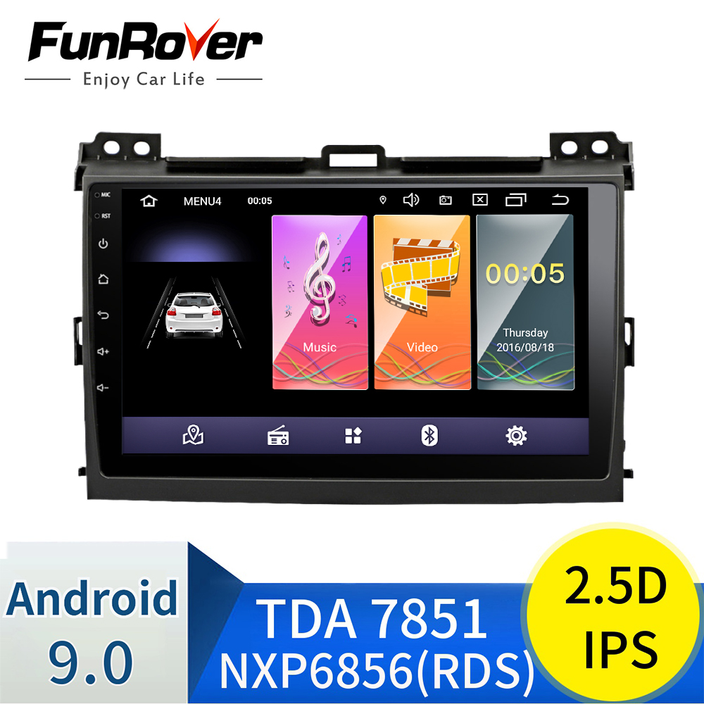 Funrover 2.5D+IPS 2 din Android 9.0 Car DVD Radio Multimedia for <font><b>Toyota</b></font> Prado <font><b>120</b></font> 2004-2009 Car autoradio Navigation GPS stereo image