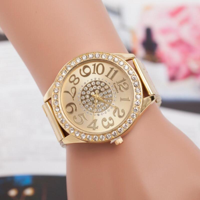 MINHIN Fashion Steel Band Quartz Wristwatches For Women Rhinestone Big Dial Strap Watches Gold Silver Rose Gold Watch Gift
