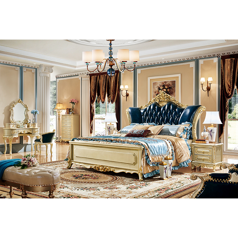 Hot Sale American King Size Antique Royal Gold Bedroom Sets