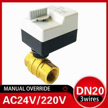 3/4 inch Electric valve with manual override, 220V electric automated ball valve DN20 2-way brass valve used for water supply