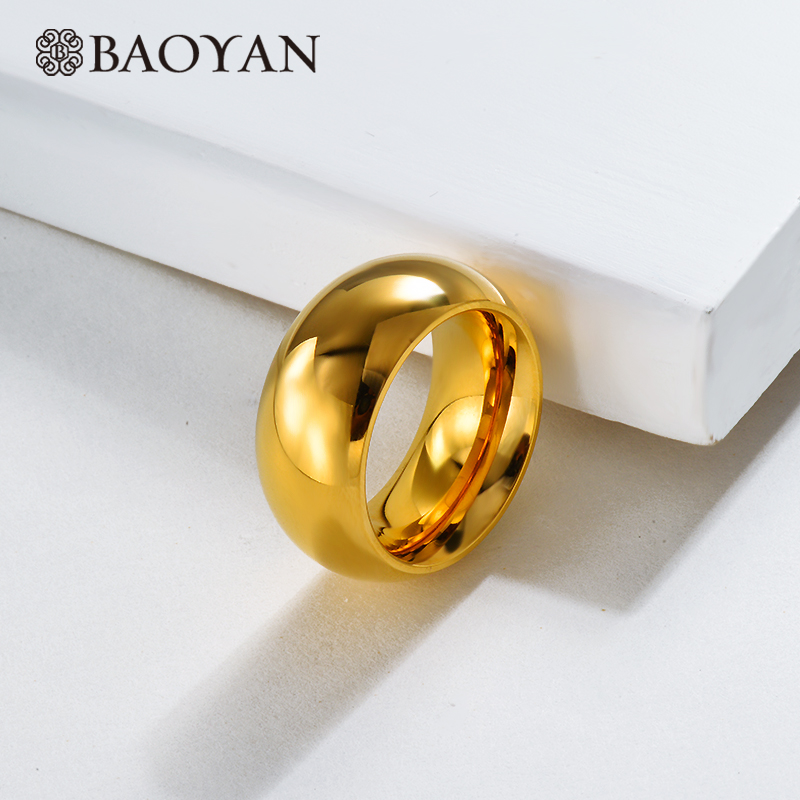 Baoyan Solid Gold Finger Rings Luxury Love Promise Wedding Engagement Rings Simple Golden Couple Stainless Steel Rings For Women Leather Bag