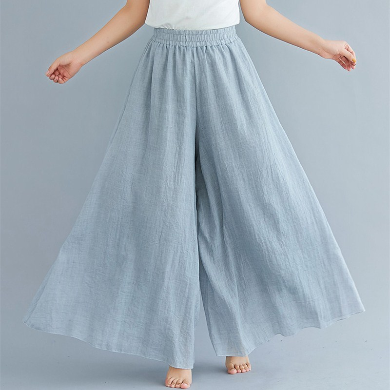 Women Elastic High Waist   Wide     Leg     Pants   Summer Casual Solid Trouser Cotton Linen Soft Loose   Pants