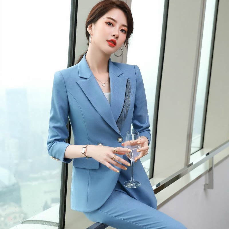 Autumn and winter business women's plus size suit pants two-piece suit New double breasted ladies jacket Slim pants high quality