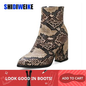Image 1 - Print Snakeskin Booties Women Ankle Boots Zip Pointed Toe Footwear Thick High Heels Female Snake Boot Women 2020 New g403