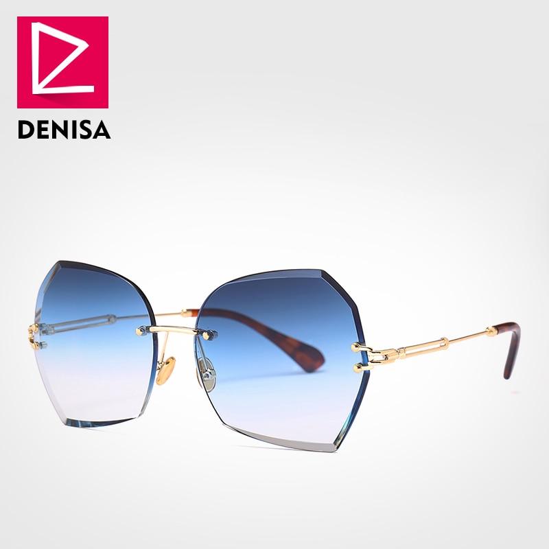 DENISA nouveau 2019 sans monture papillon dame lunettes de soleil femmes cadre en métal surdimensionné lunettes de soleil filles UV400 zonnebril dames G18603