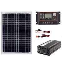 18V20W солнечная панель + 12 V/24 V контроллер + 1500W инвертор Ac220V комплект, подходит для наружного и домашнего использования Ac220V Солнечная энергосб...